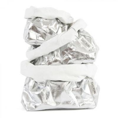 Metallic-Papiertüte | Silber & Weiß