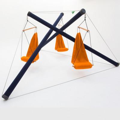 Hammock Air Chair | 3 Blue Poles + 3 Orange Seats