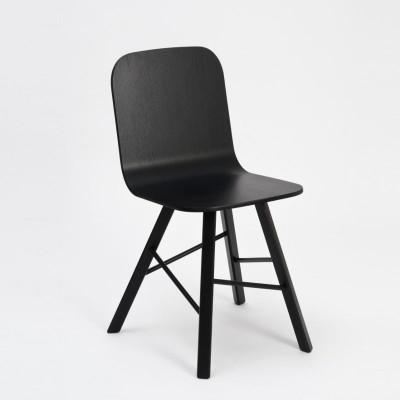 Tria einfacher Holzstuhl 4 Beine   schwarz