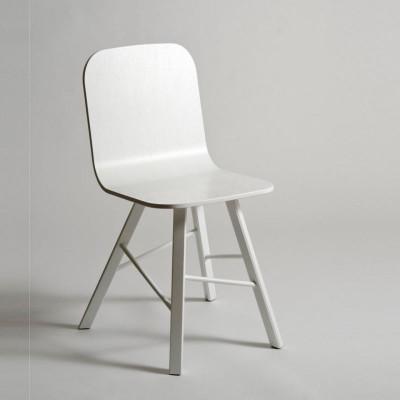 Tria einfacher Holzstuhl 4 Beine   weiß