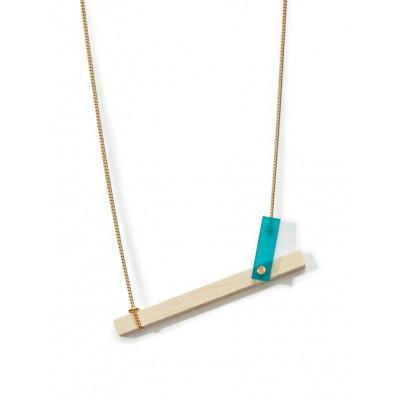 MECANO Necklace   Aqua, Light Wood, Gold