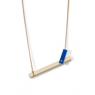 MECANO Necklace   Bright Blue, Light Wood, Gold