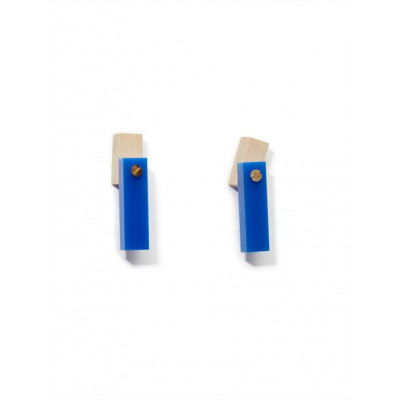 MECANO Earstuds   Bright Blue, Light Wood, Gold