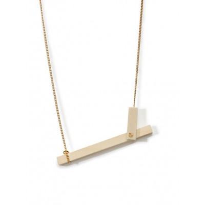 MECANO Necklace   Sand, Light Wood, Gold