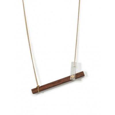 MECANO Necklace   Dark Wood, Gold