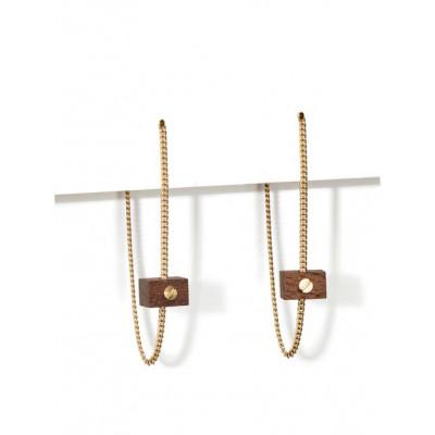MECANO Earrings   Dark Wood, Gold