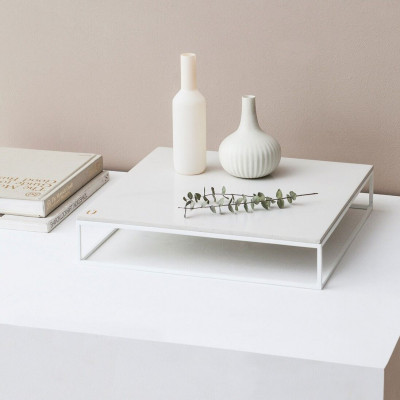 Mini MoonSquare Side Table   White Steel Frame / White Table Top
