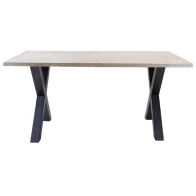 Breazz Leder Tisch X-Rahmen | Grau - 160x80cm