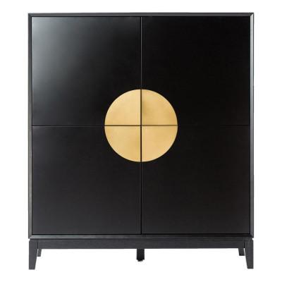Sideboard Xian 110x45x125   Matt Black - Brushed Gold