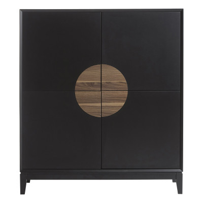 Sideboard Xian 110x45x125   Matt Black - Dunkles Walnuss
