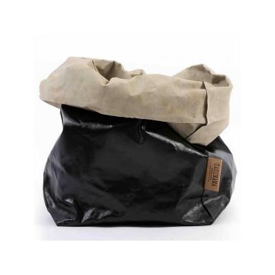 Metallic Paper Bag | Black & Sabbia