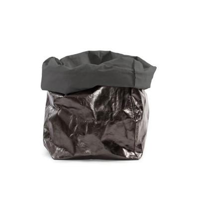 Metallic Paper Bag | Dark Grey & Peltro
