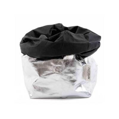 Metallic Paper Bag | Silver & Black