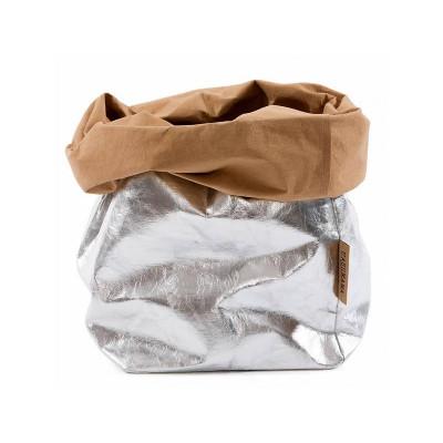 Metallic Paper Bag | Silver & Naturel