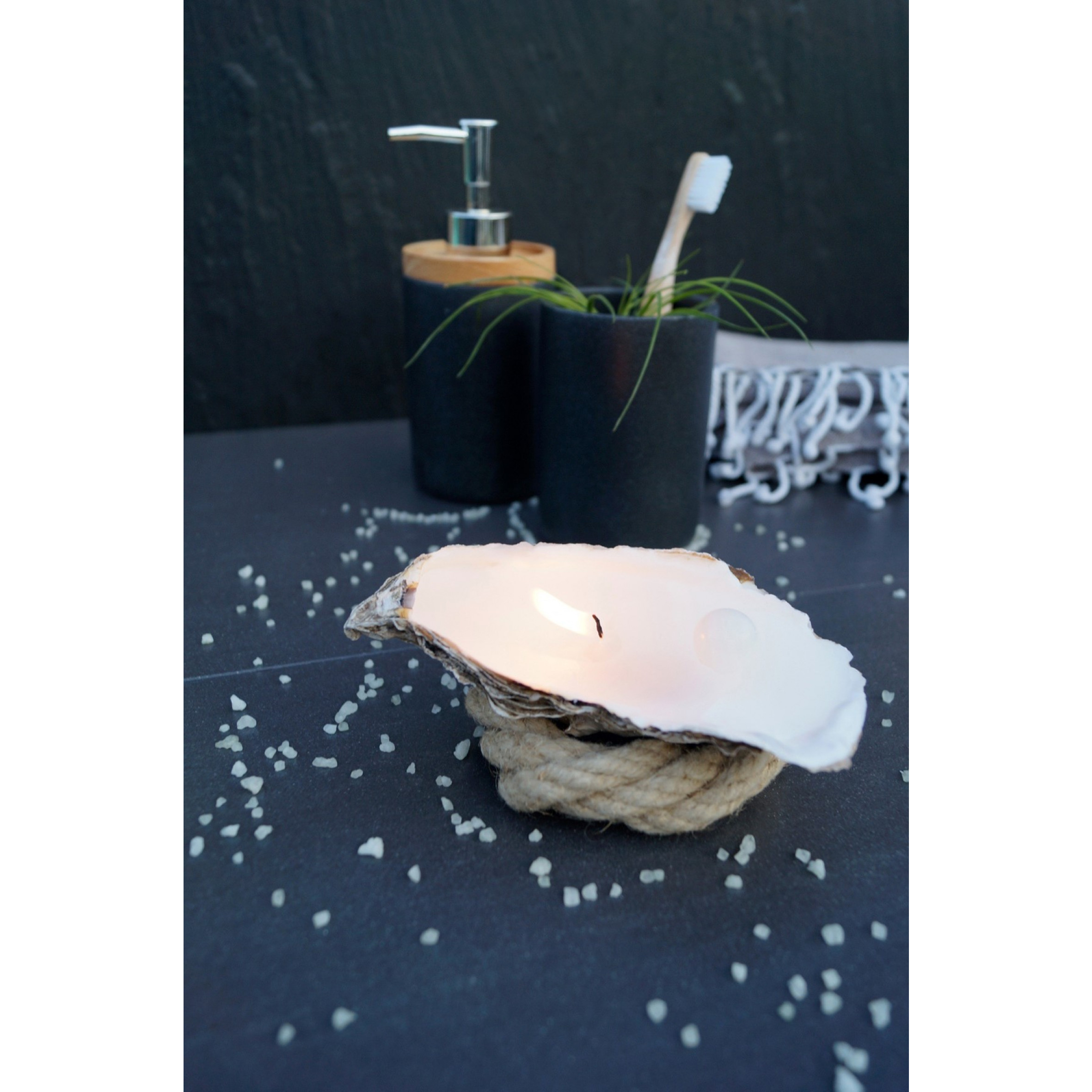 Bougies Huître Set de 3 + Perles Parfumées Boîte Cadeaux Medium | Naturelle