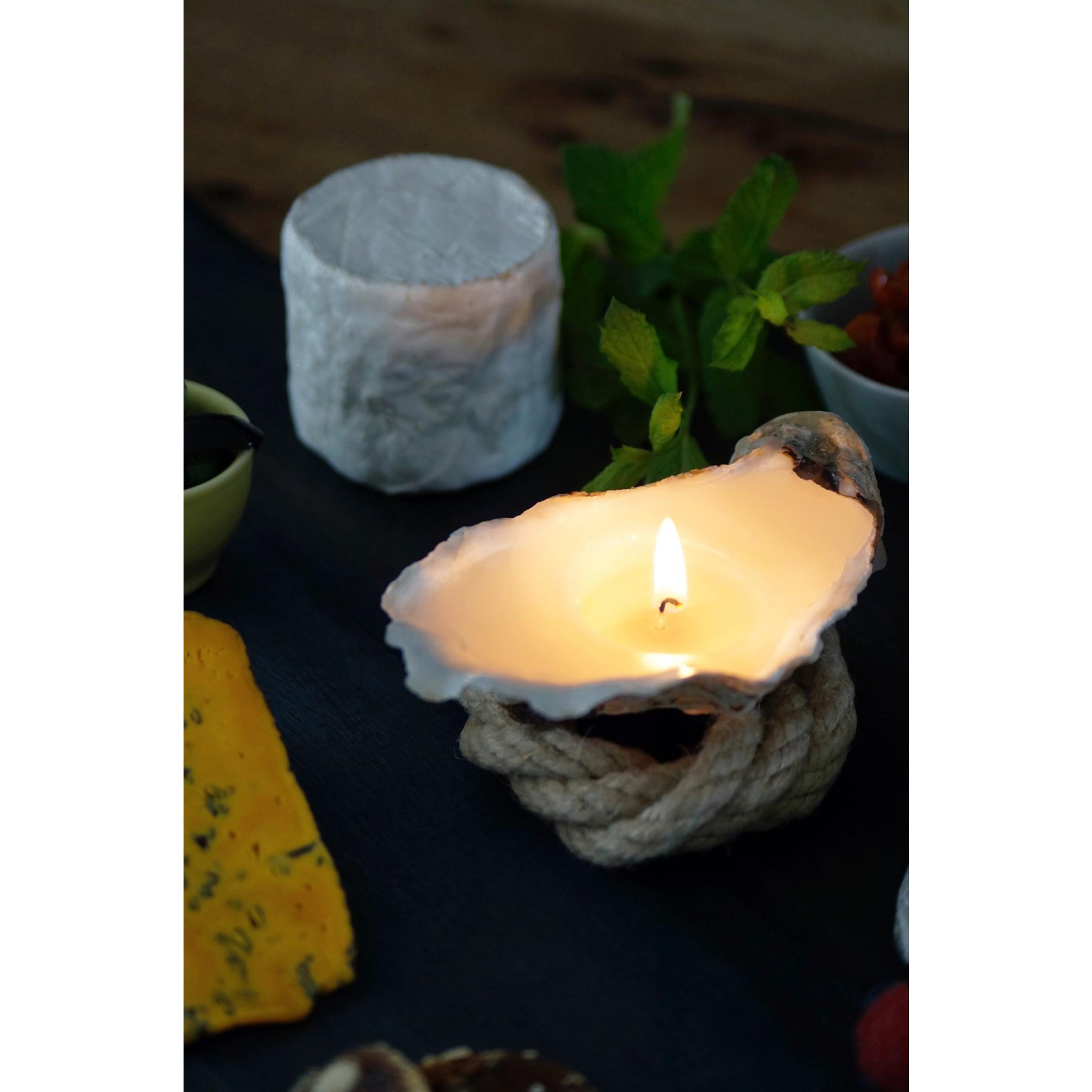Austernkerze 3 Stück + Duftperlen Geschenkpackung Gross | Natur