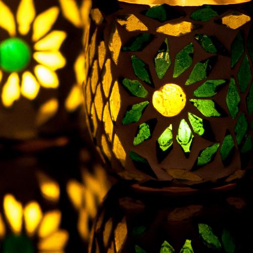 Kerzenständer Orientalische Mosaikkugel  Satz von 2   Grün