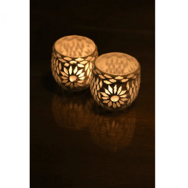 Kerzenständer Orientalische Mosaikkugel  Satz von 2 | Transparent