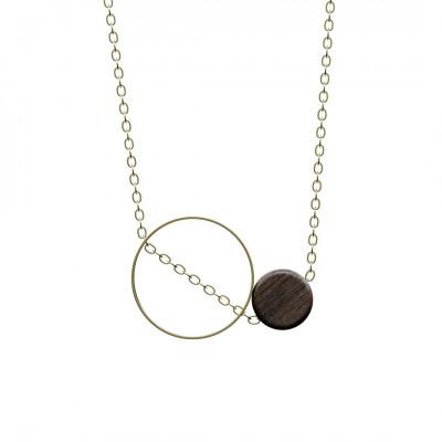 Halskette Utrum | Dunkles Holz & Gold