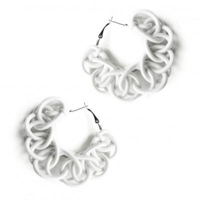 Textile Hoop Earrings | Off-White