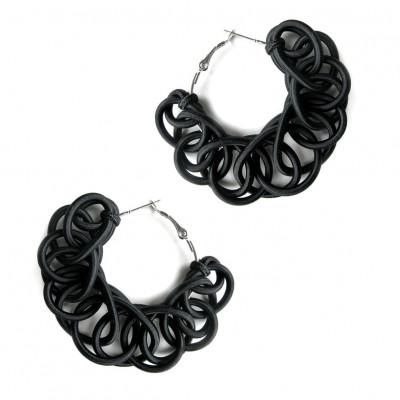 Textile Hoop Earrings | Black