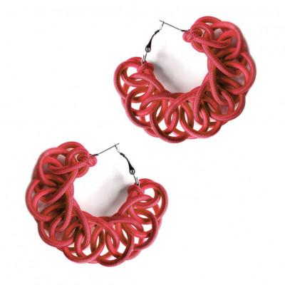 Textile Hoop Earrings | Red