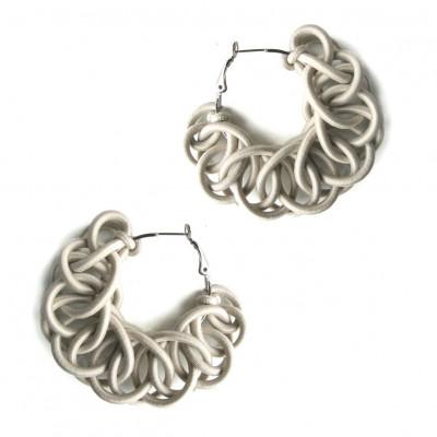 Textile Hoop Earrings | Cream