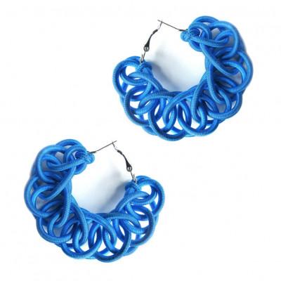 Textile Hoop Earrings | Blue