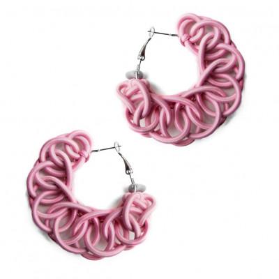 Textile Hoop Earrings | Light Pink