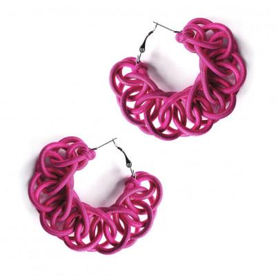 Textile Hoop Earrings | Dark Pink