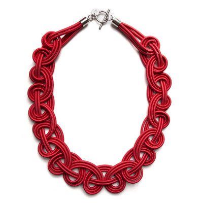 Textile Necklace | Red