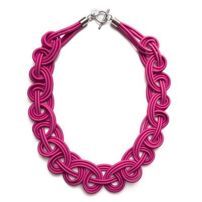 Textile Necklace | Dark Pink