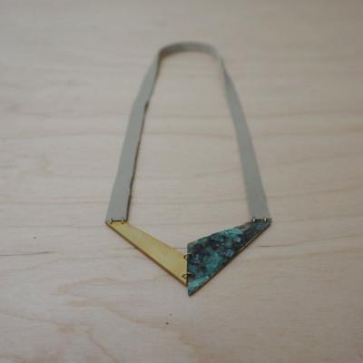 Necklace V | Brass & Green-blue