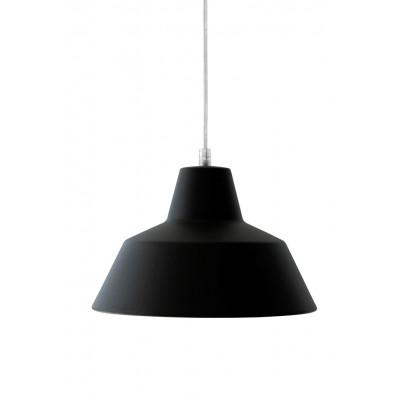 Werkstattlampe Seide Schwarz