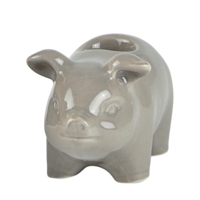 Candle Holder Pig Small | Grey