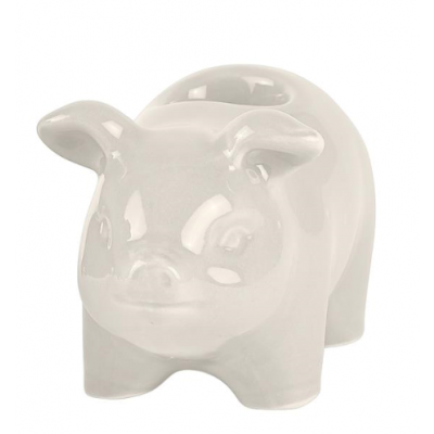 Candle Holder Pig Small | White