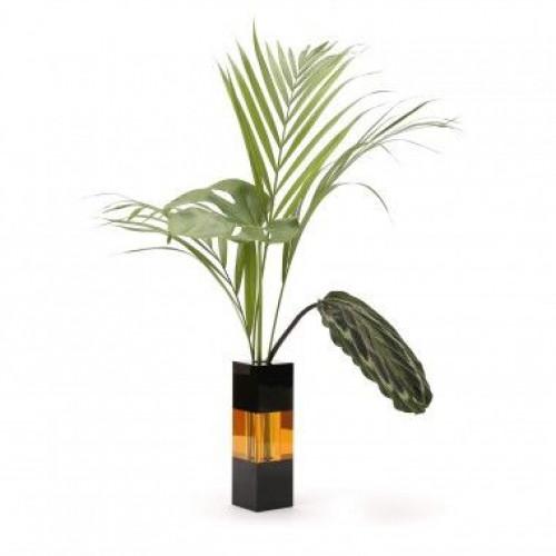 Crystal Vase   Black/Amber/Black