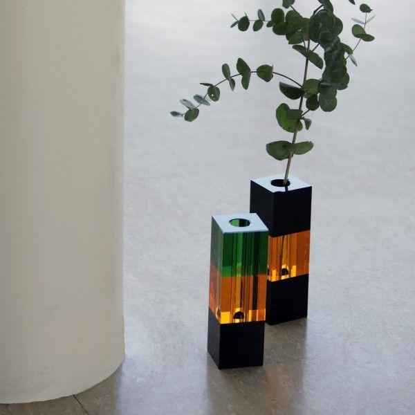 Crystal Vase | Green/Amber/Black