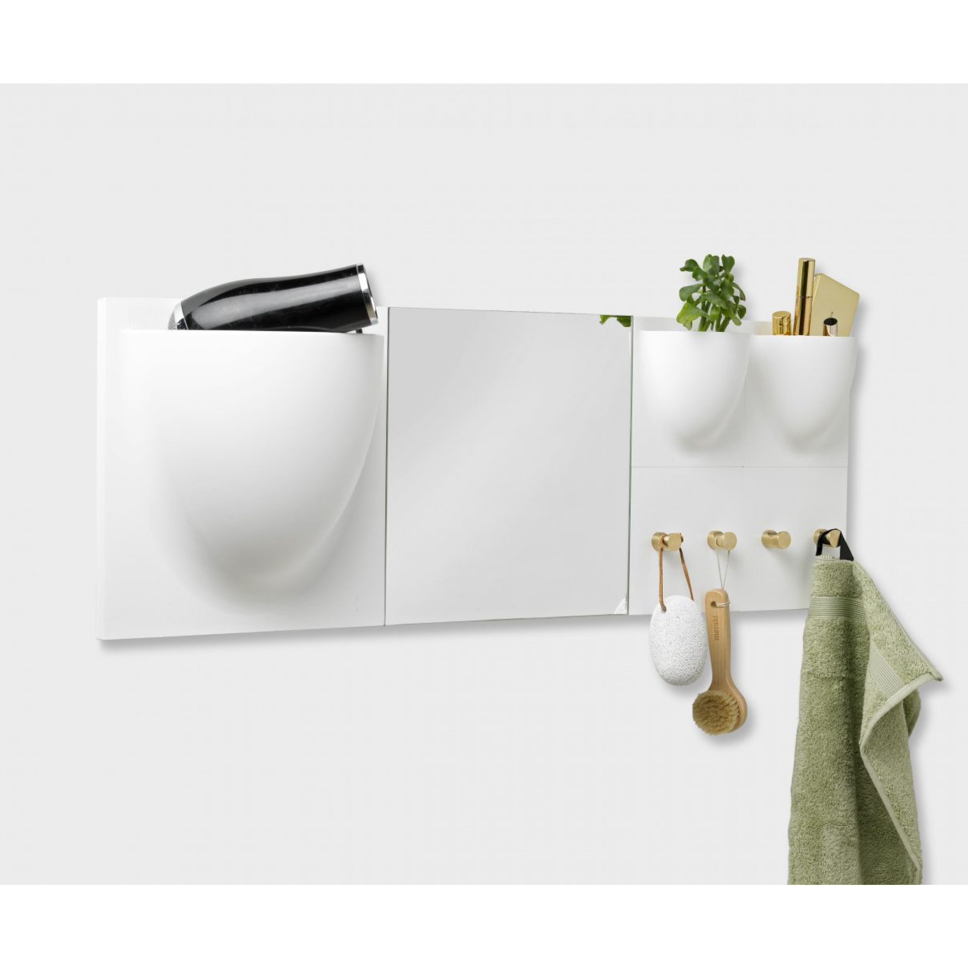 Haken VertiHooks   Weiß & Messing