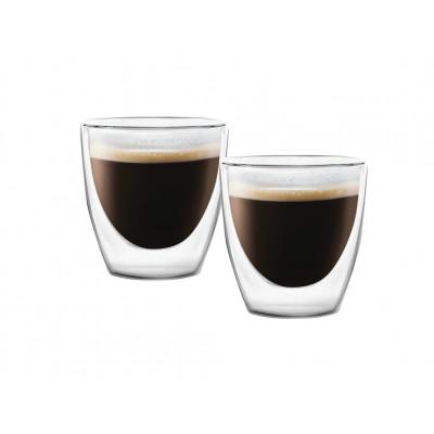 2-er Set Doppelwandige Espressotassen mit Untertasse 80 ml | Amo