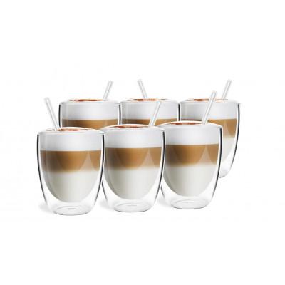 6-er Set Doppelwandiges Glas mit 6 Strohhalmen 320 ml | Vita