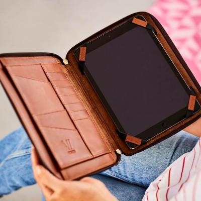 iPad-Hülle Organizer Leder | Dark Tan