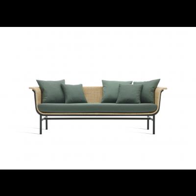Außen-Lounge-Sofa Wicked + Grüne Kissen | Natur