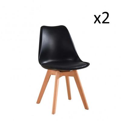 Stuhl Vintage 2er-Set | Schwarz