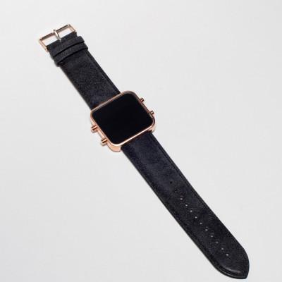 Digital Watch | Rose Gold, Vintage Blue & Black Bracelet