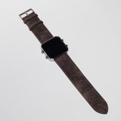 Digital Watch | Silver, Vintage Brown Bracelet