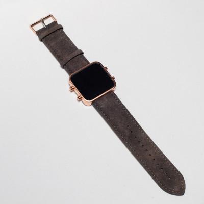 Digital Watch | Rose Gold, Vintage Brown Bracelet