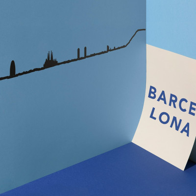 Wanddekoration Barcelona Skyline Groß | Schwarz
