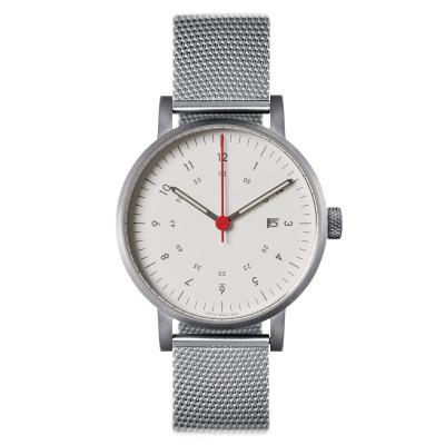 Uhr V03D | Silber/Stahl/Weiß