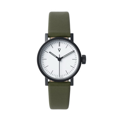 Uhr V03P Petite | Schwarz/Olive/Weiß